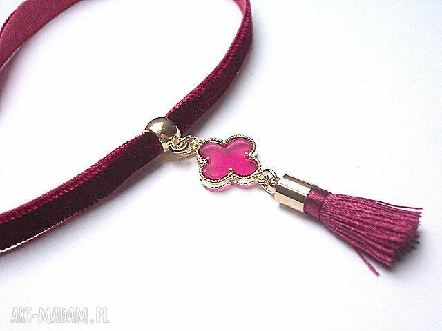 handmade naszyjniki aksamitka choker burgund /chwost/ - naszyjnik
