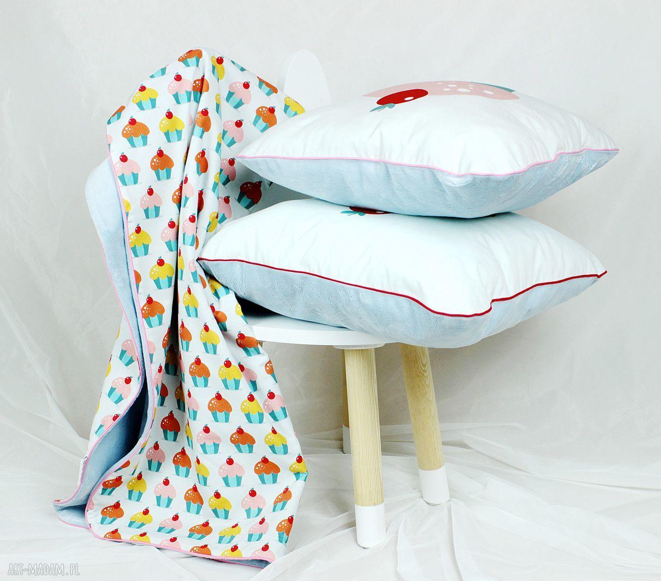 niebieskie pokoik dziecka poduszka zestaw kocyk poduszki muffinki