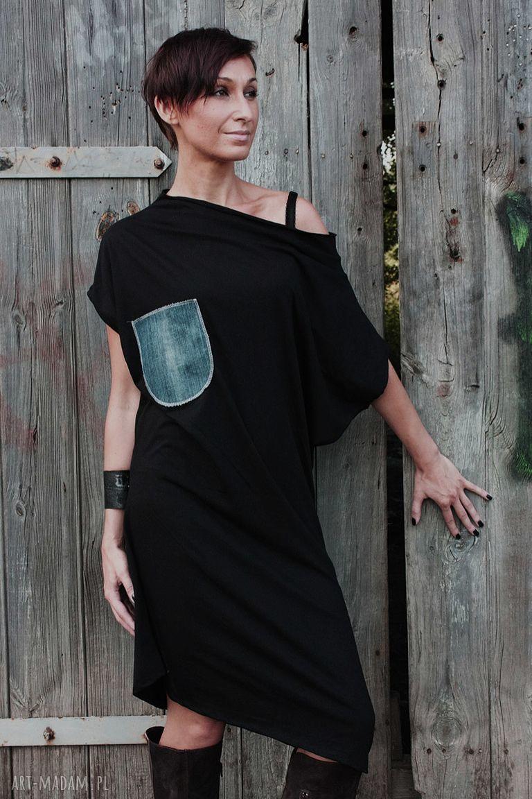 handmade sukienki z jeansowa kieszenią-sukienka