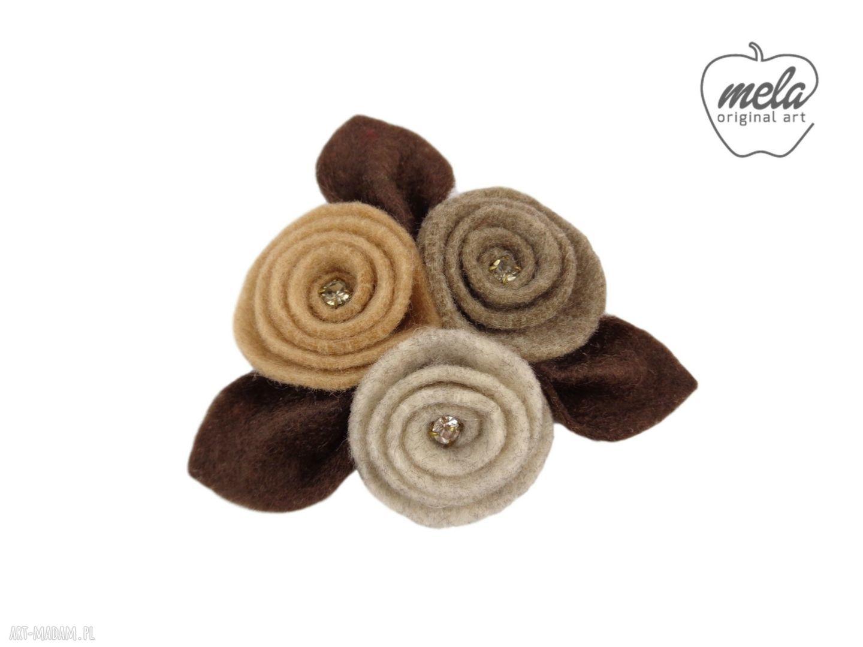 hand-made broszki ~mela~ broszka filcowa ulio - kwiaty liście - brąz