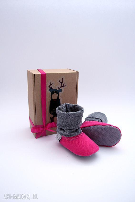 hand-made buciki bambosze z golfem / hand made / ciemny róż