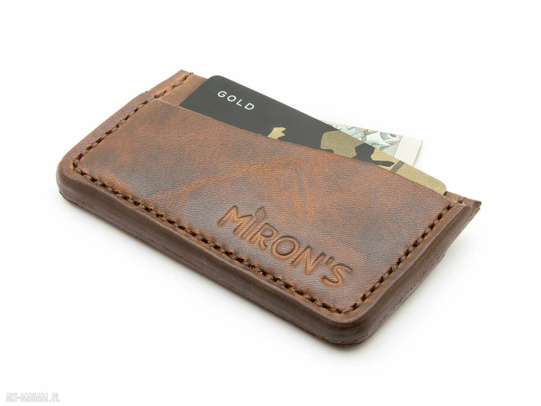 handmade portfele card holder brązowy