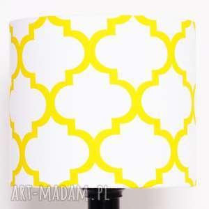 abażur fresh yellow-white 25x25x22cm od majunto, koniczyna, koniczyna-marokańska