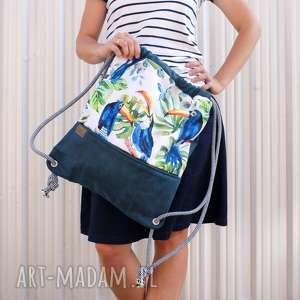 handmade plecak vegan troczek tukany morski