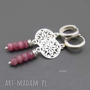 Rubin z rozetą - kolczyki, rubin, srebro