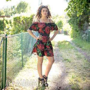 Sukienka w kwiaty, róże, jersey