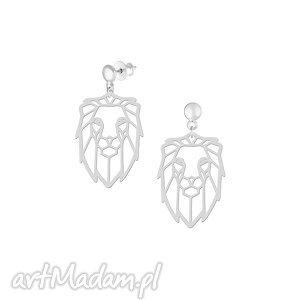 Lew - kolczyki, lew, srebro, sztyfty, geometria