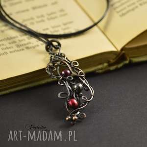 pearl wine - naszyjnik z wisiorem, naszyjnik, wisior, perły, perły rzeczne, wire