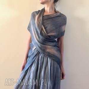 Unikatowy ręcznie barwiony lniany szal szaliki anna damzyn szal