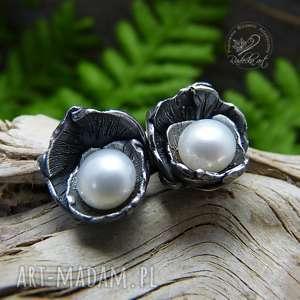 dzwoneczki white - srebro i perła, kolczyki, sztyfty, srebro, boho, wkrętki