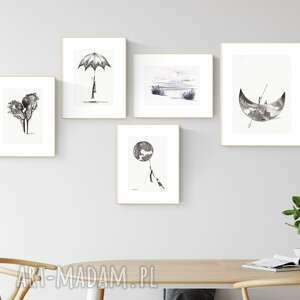 Zestaw 5 grafik wykonanych ręcznie, do salonu, 2604939 art