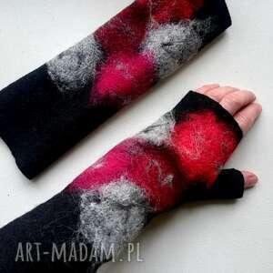 Mitenki czerwienie rękawiczki meganaart mitenki, bez palców