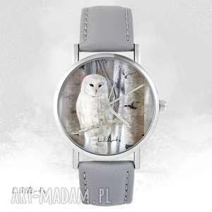 liliarts zegarek - sowa szary, skórzany, zegarek, bransoletka