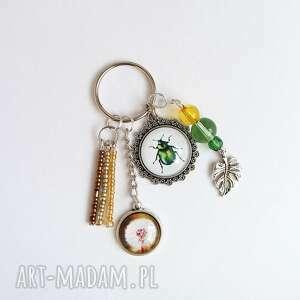 breloczek - zielony żuczek, dmuchawiec, breloczek, do kluczy, żuk, dmuchawiec