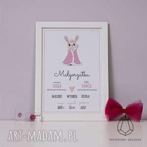 metryczka królik - metryczka, plakat, obrazek, urodziny, chrzest, prezent