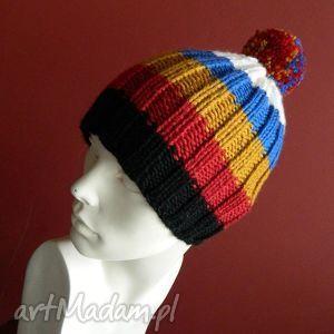 100 wool pomponiasta czapka, kolorowa, paski, pompon, narciarska, klasyczna