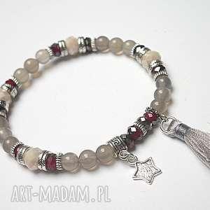 bransoletki kolekcja rich boho - grey 3 14 10 15 , agaty, chwost, boho, kryształki