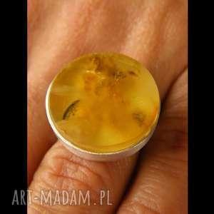 srebrny pierścionek z bursztynem żółty bursztyn - bursztyn, bursztyny