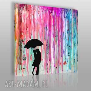 obraz na płótnie - deszcz barwy para w kwadracie 80x80 cm 46402, deszcz, kolorowy
