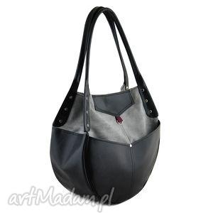 na ramię kaya - duża torba szarośc i czerń, duża, pakowna, elegancka