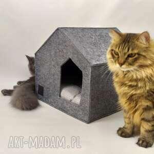 nowoczesny domek budka legowisko dla kota z filcu, domek, legowisko, designe