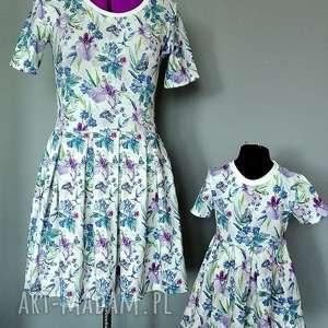 sukienki komplet sukienek irysy dla mamy i córki, dzianina, irysy, chaber, motylki
