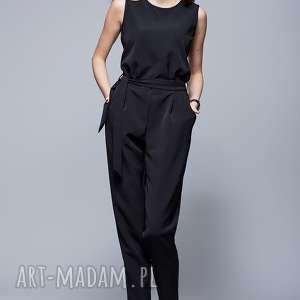 mhm harrmony elegancki kombinezon czarny h023, kombinezon, długie spodnie, pasek