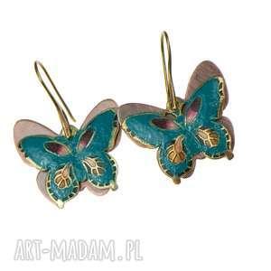 c317 kolorowe motyle na miedzi emaliowane, kolczyki-z-motylami, kolczyki-motyle