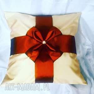 poduszka prezent canadian origami w brązie i kremie, poduszka, tafta