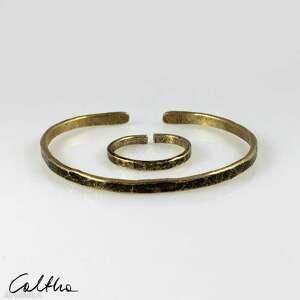 komplet - mosiężna bransoletka i obrączka 200131-05, bransoletka, pierścionek