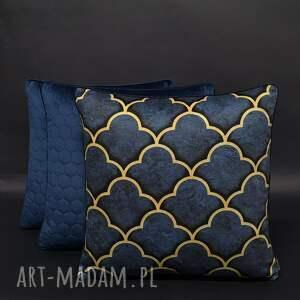 ręczne wykonanie poduszki komplet 3 poduszek koniczyna granat 45x45cm