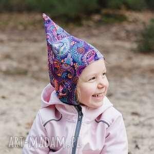 handmade kominiarka - czapka skrzata orient fiolet