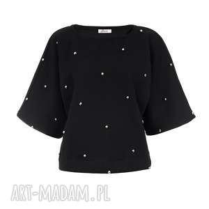 bien fashion bluza damska nietoperz ze srebrnymi kuleczkami, oversize, luźna
