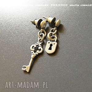 srebro kolczyki - srebrna intryga, kluczyk, kłódka, srebro, ogniwa