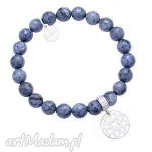 sotho bransoletka z fasetowanego dumortierytu zdobionego, zawieszka, niebieska
