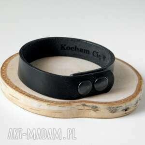 męska skórzana bransoleta 1,5 cm - czarna bransoletka kocham cię personalizowana