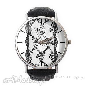 koronka - skórzany zegarek z dużą tarczą, koronkowy