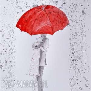 letni deszcz akwarela z dodatkiem piórka artystki plastyka adriany laube