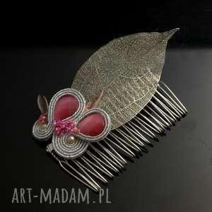 Srebrny grzebień ślubny z liściem, słubny dla panny młodej