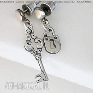 srebro, kolczyki - srebrna intryga, zawieszki, kluczyk, kłódka