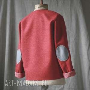 bluzki bluza wełniana dwustronna, ciepła, minimalistyczna, wełna, zimowa, łatki