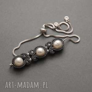 bransoletka sutasz z perłami, sznurek, elegancka, delikatna, grafitowa