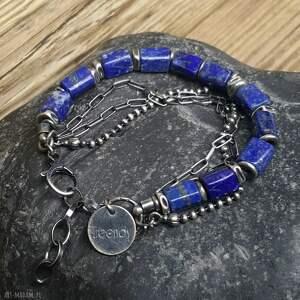 Bransoletka srebrna z lapisem lazuli treendy srebro, srebro