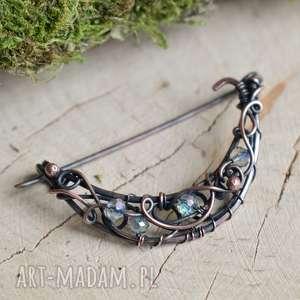 handmade broszki crystal moon - broszka do szala/swetra