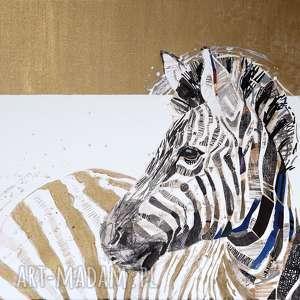 obraz ręcznie malowany akryl collage złota zebra - obraz, akryl, collage, zebra