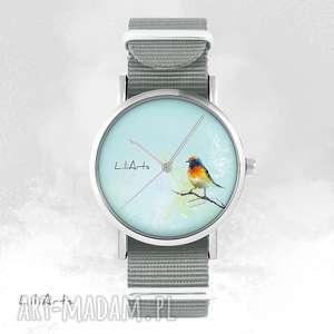 ręczne wykonanie zegarki zegarek, bransoletka - kolorowy ptaszek szary, nato