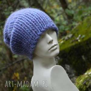 czapki mega gruba, designerska czapka syberianka, liliowa czapka, dziergana