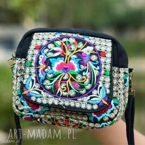 hand made mini damska torebka haftowana etniczna