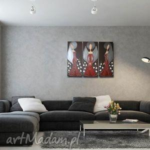 obraz ręcznie malowany anioły szczęścia i dobrobytu - a10- 90x70cm, obraz