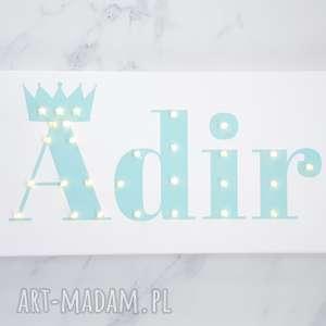 Prezent NAPIS LED Twoje Imię korona prezent dla dziecka obraz personalizowany mięta